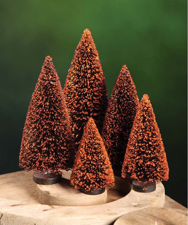 Black Bottle Brush Trees with Orange Glitter for Halloween - Bethany Lowe