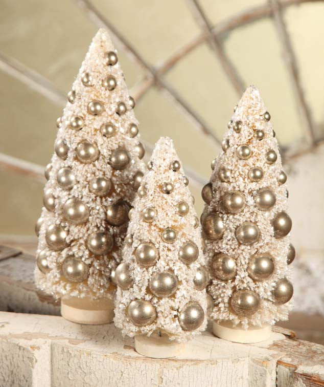 Ivory Bottle Brush Tree With Silver Balls