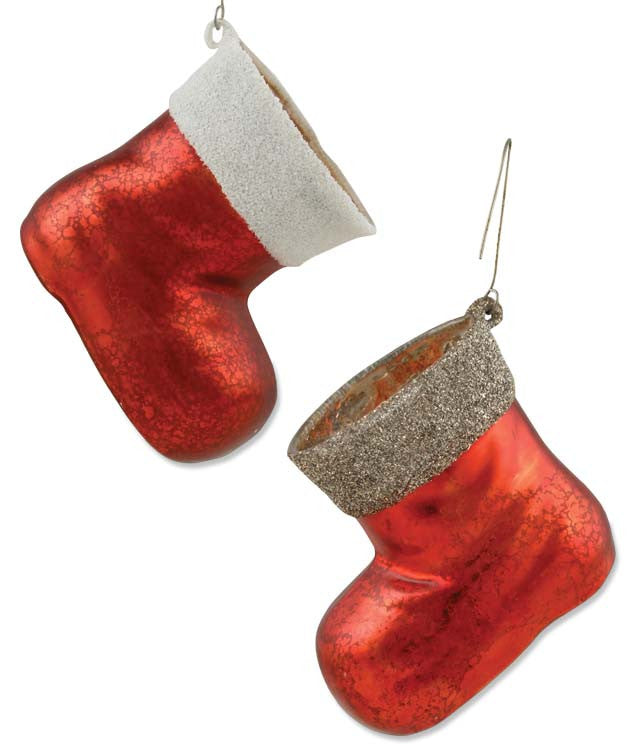 Glass Red Santa Boot Ornaments