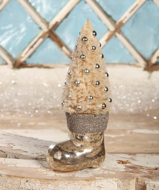 Platinum Santa Boot With Bottle Brush Tree