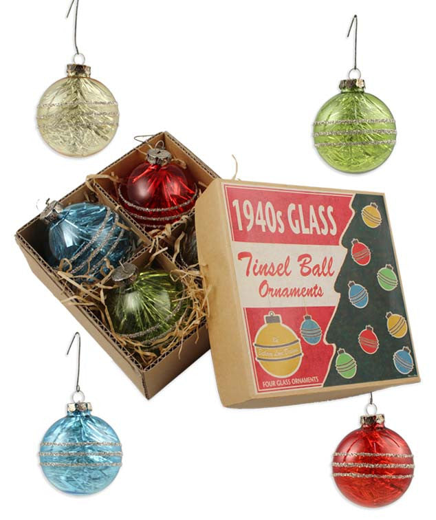1940s Tinsel Ball Ornaments With Box