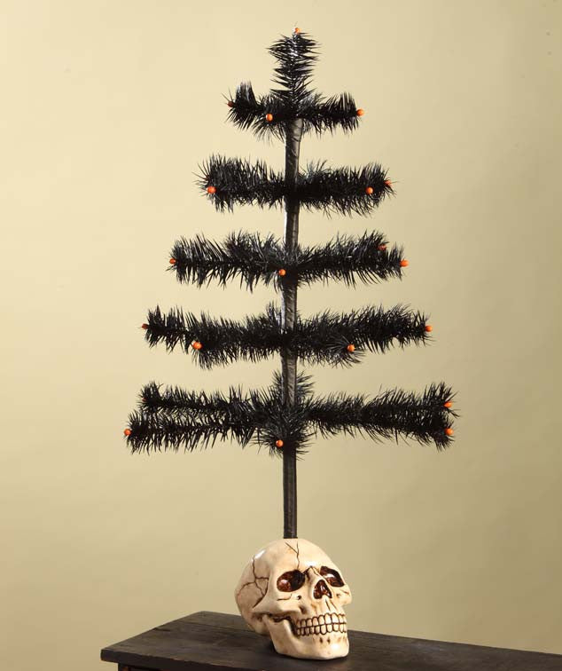 Black Feather Tree in Skull