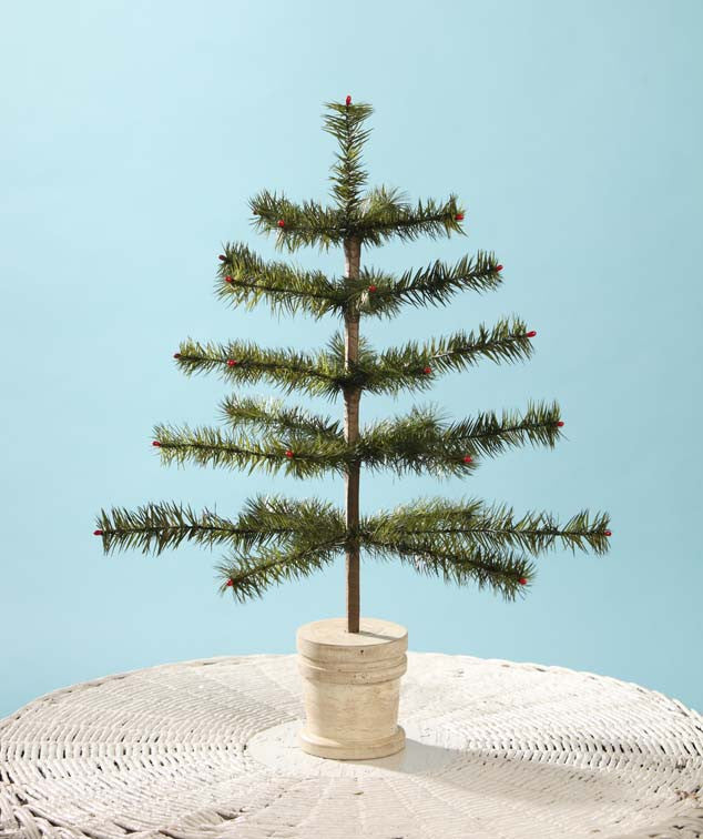 Wide Dark Green Feather Tree with Wooden Bucket Base