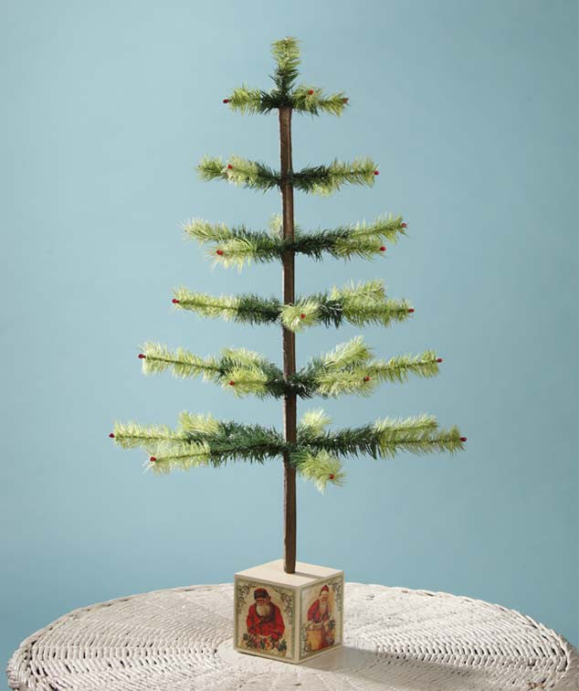 Feather Tree with Victorian Santa Base