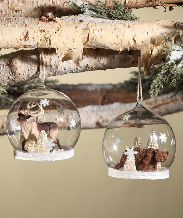 Woodland Snow Globe Ornaments