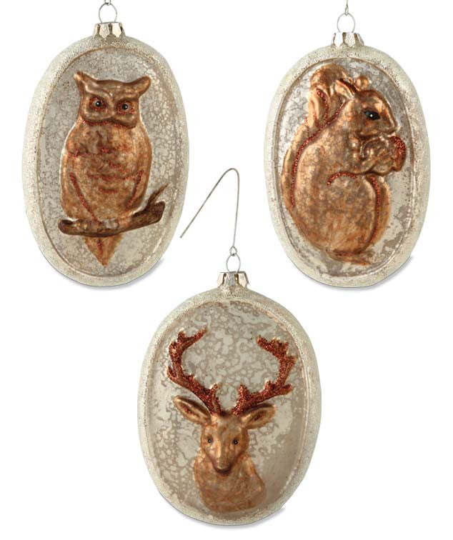Woodland Glass Oval Ornaments