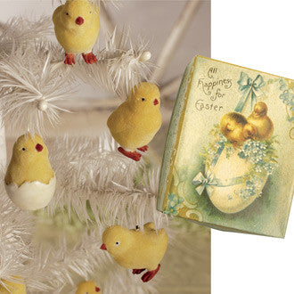 Vintage Box of Chick Ornaments