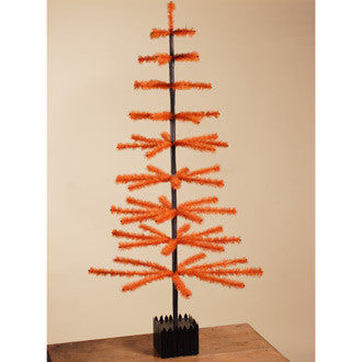 Orange Feather Tree with Fence Base - 5 ft. Tall