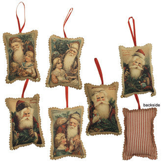 Santa Fabric Ornaments