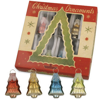 Glass Tree Ornaments in Vintage Box