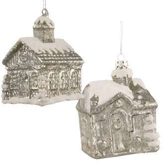 Silver Mercury Glass House Ornaments