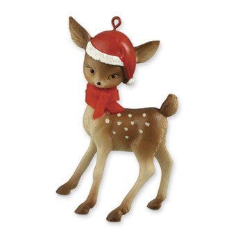 Retro Reindeer with Santa Hat Ornament