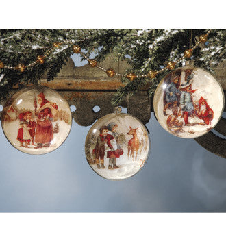 Santa Glass Disk Ornaments