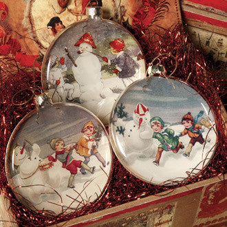 Snowmen Glass Disk Ornaments