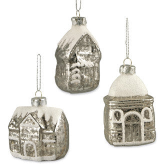 Mini Silver Mercury Glass House Ornaments