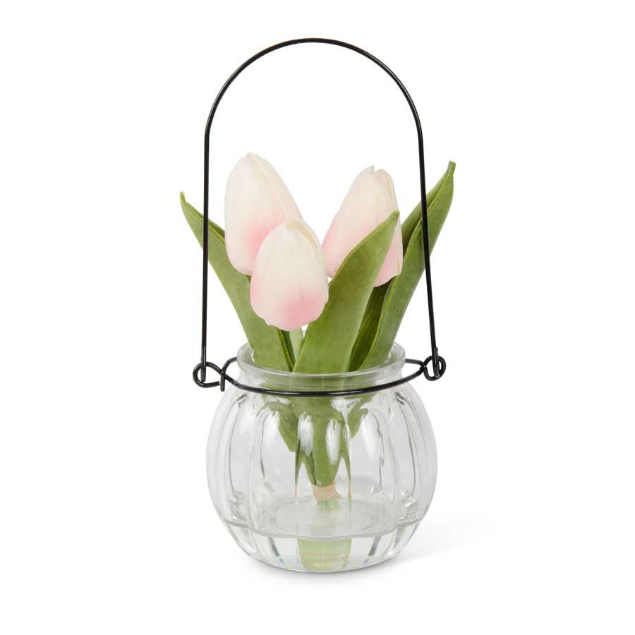 Pink Tulip Arrangement in Glass Vase