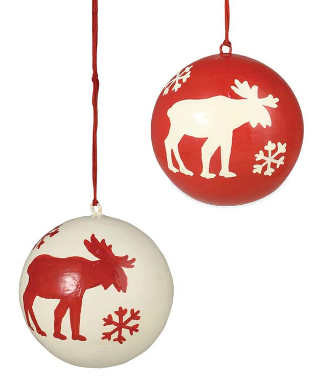 Snowflake Moose Ball Ornaments