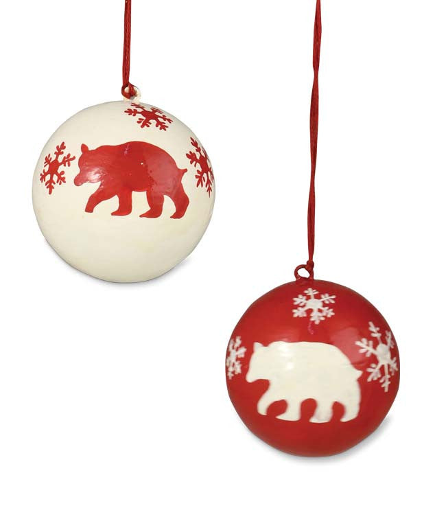 Snowflake Bear Ball Ornaments
