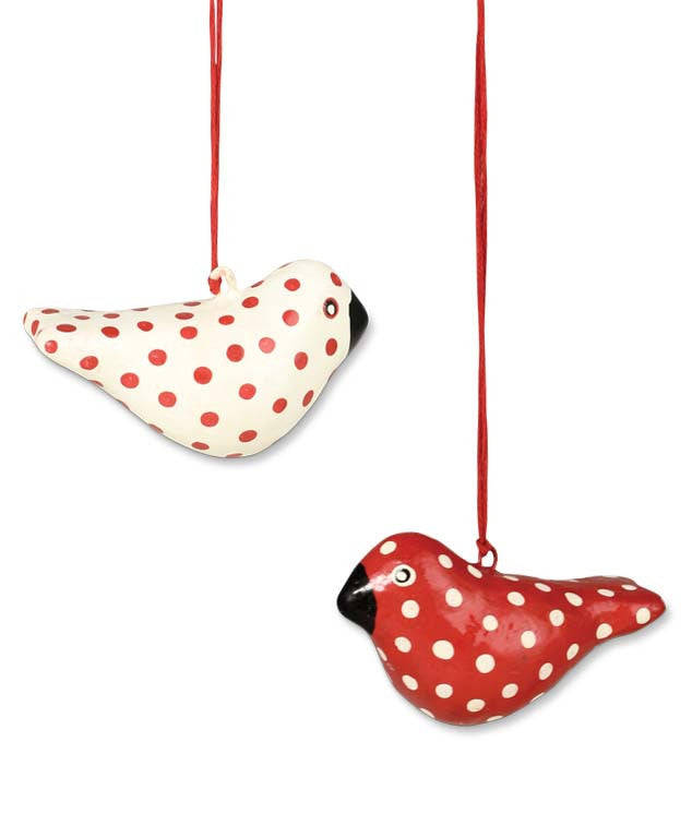 Polka Dot Bird Ornaments