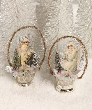 Victorian Glass Cup Ornaments with Angel