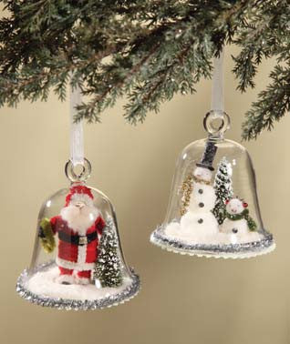 Santa and Snowman Cloche Ornaments