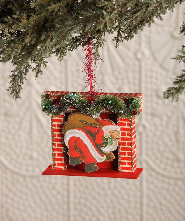 Retro Santa In Fireplace Ornament