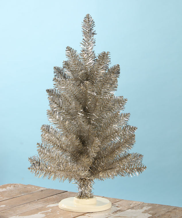 Tabletop Platinum Tinsel Tree 24