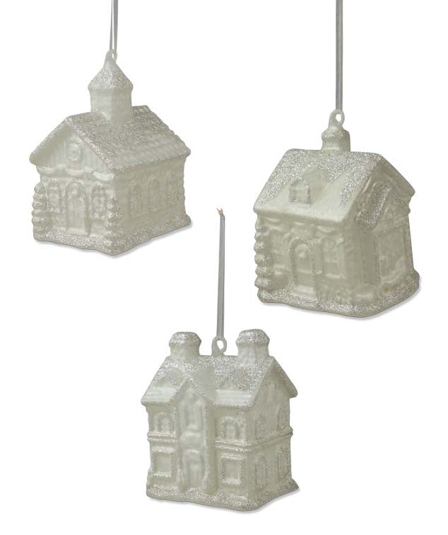 Snowy Cottage Glass Ornaments
