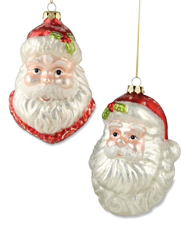 Retro Santa Head Glass Ornaments