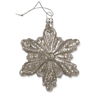 Antique Silver Glass Snowflake Ornament