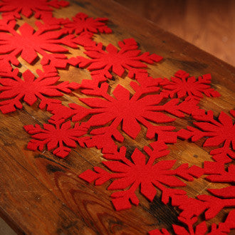 Red Snowflake Table Runner