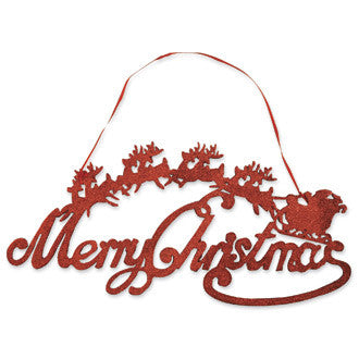 Red Glitter Santa Sleigh Sign