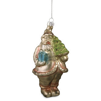 Santa with Package Glass Ornament