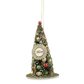 Merry Bottle Brush Tree Ornament