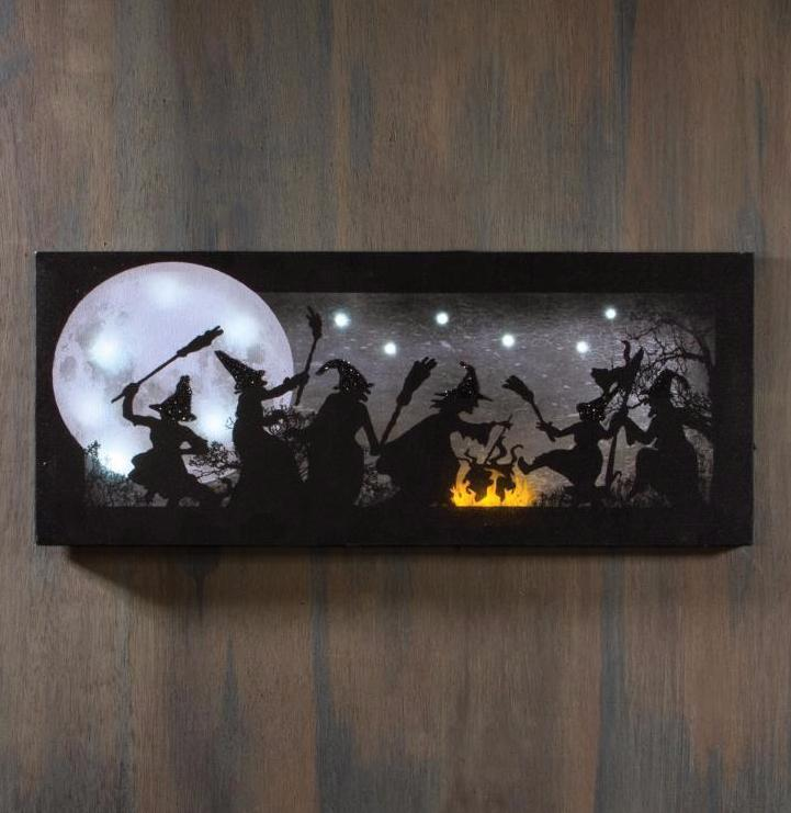 Dancing Witches Silhouette Lit Canvas