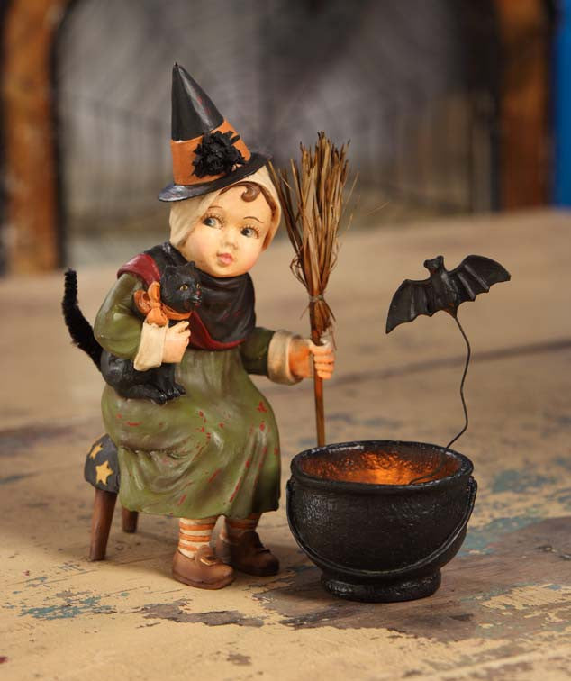 Little Witch with Cauldron Bethany Lowe Halloween