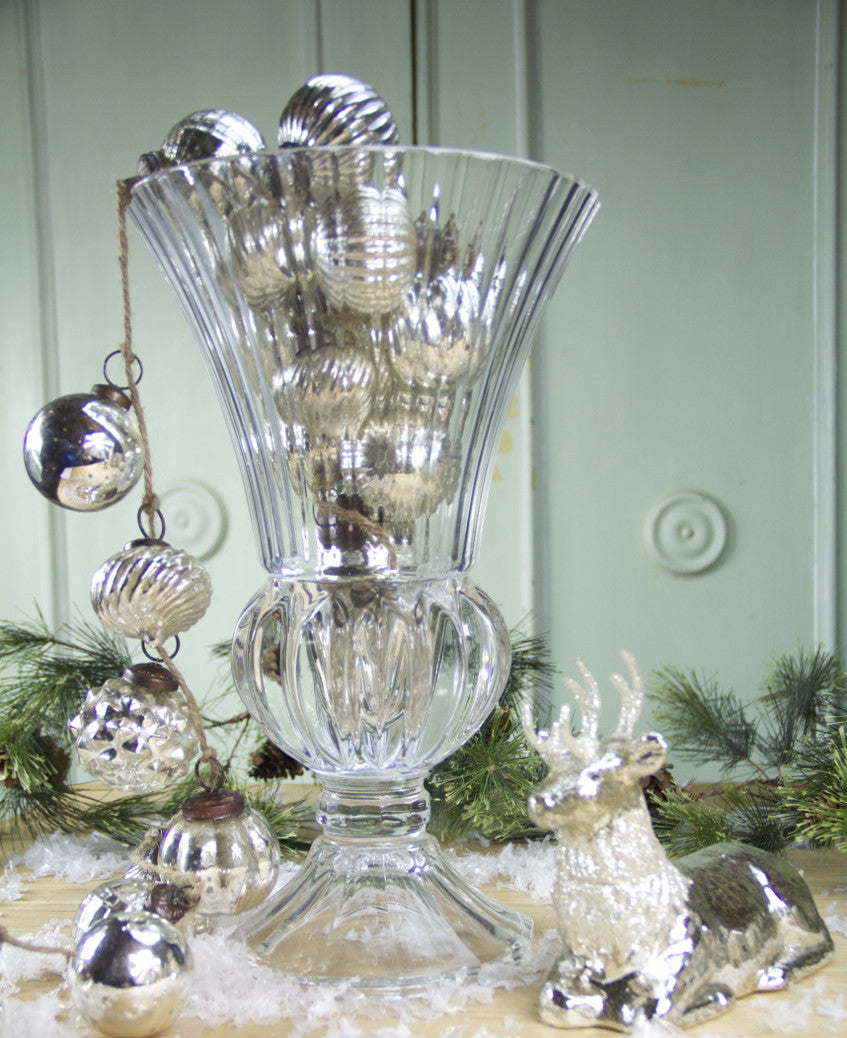 Silver Glass Large Ornament Garland