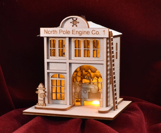 North Pole Fire Company Balsa Wood Ornament