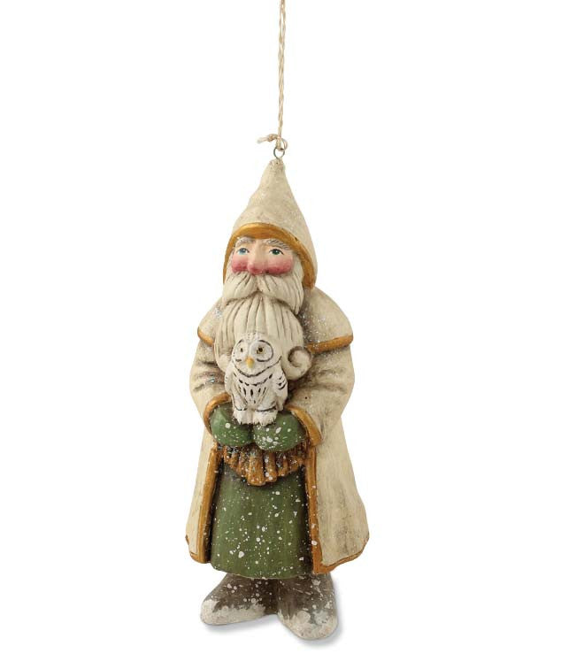 White Santa With Owl Ornament