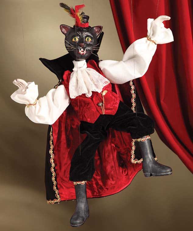 Black Cat Dracula Marionette - Bethany Lowe Halloween