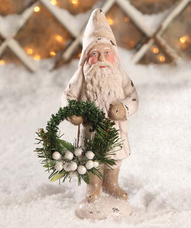 Belsnickel Santa Ivory with Wreath - Bethany Lowe Christmas