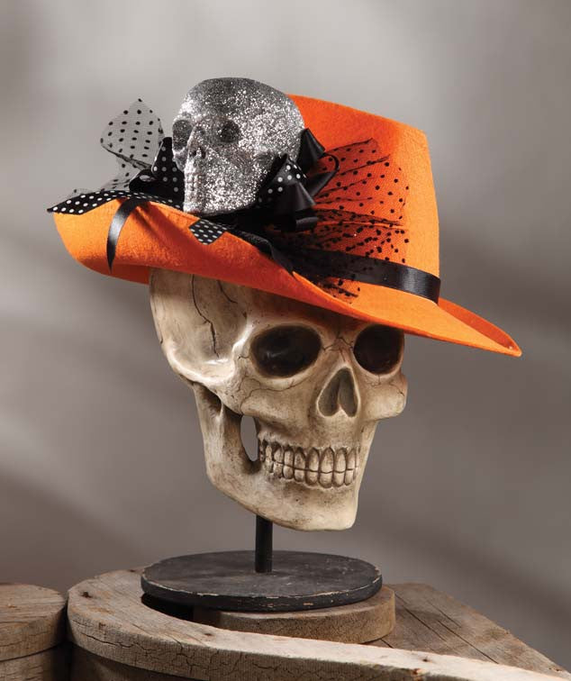 Fedora With Silver Glittered Skull