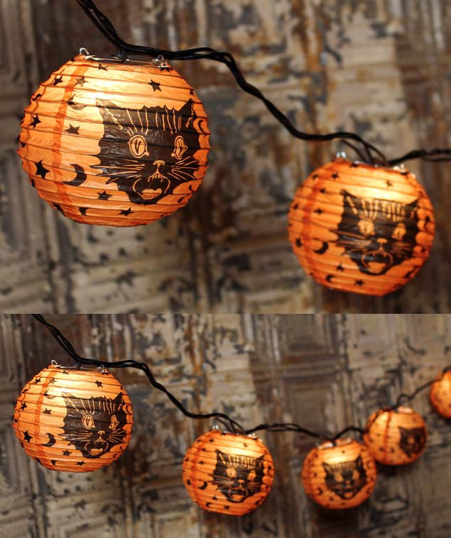 Fraidy Cat Lantern String Lights Halloween Decorations