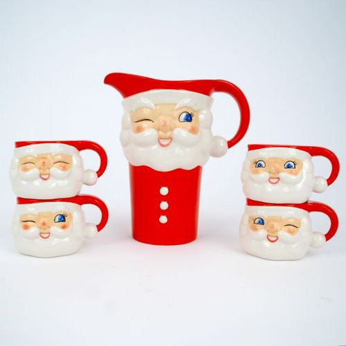 Retro Santa Mug & Pitcher Set