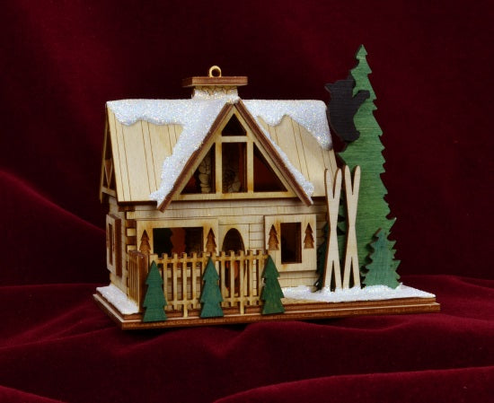 Santas Ski Lodge Balsa Wood Ornament