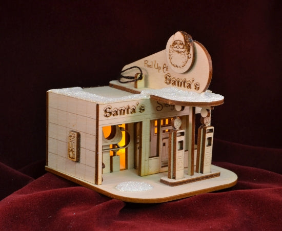 Santas Sleigh Station Balsa Wood Ornament