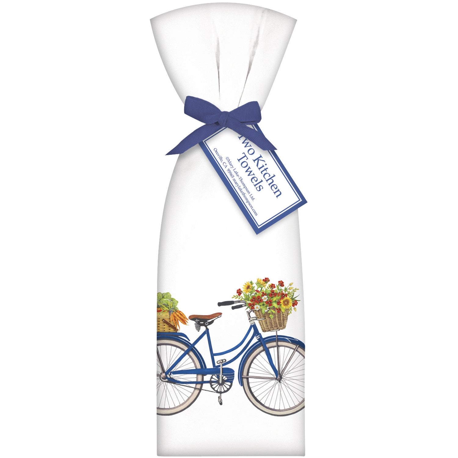 Farmers Market Blue Bicyle with Basket Kitchen Towels