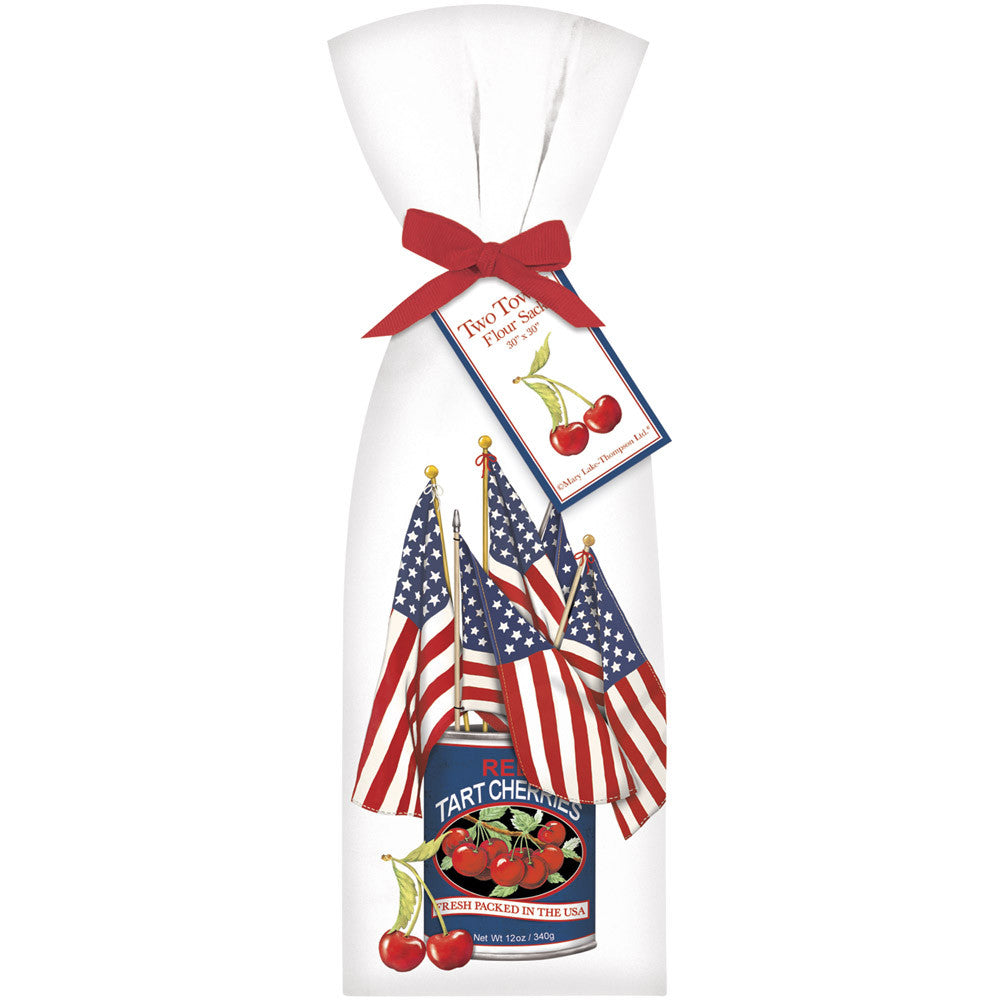 4th of July Flour Sack Kitchen Towels with Can of Cherries and Flagss