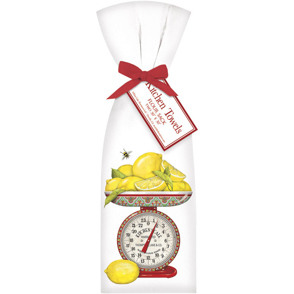 Lemons on Red Kitchen Scale Kitchen Towels