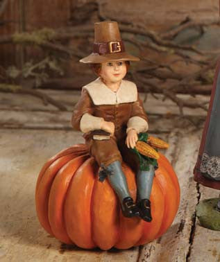 Pilgrim Boy On Pumpkin